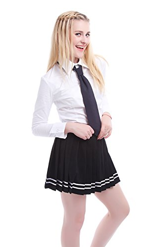 Nuoqi® Mädchens School Uniform Kurzarm Anzug Hemd mit Pleated Skirt Cosplay Kostüm