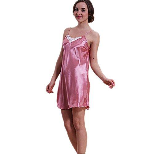 CHUNHUA La Sra encaje en el pecho exclusivo V-cuello del color sólido de tirantes de seda pijamas chándal (color opcional) , l , deep purple m