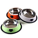 Cheap Vonsely Stainless Steel Cat Bowls with Rubber Base, Durable Raised Bowls for Small Pets, Cat Pattern Food and Water Dish (Orange+Green+Grey)