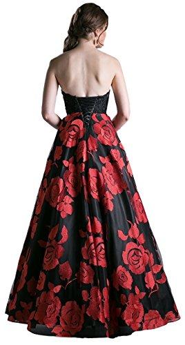 Meier Women's Strapless Rosette Embroidery Evening Ball Gown Size 2
