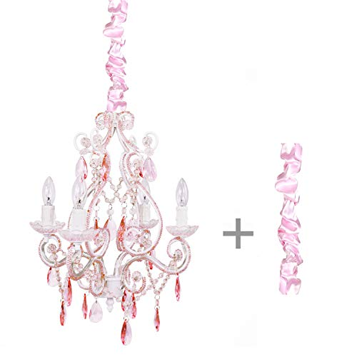 (Tadpoles Vintage Plug-In or Hardwired Mini-Chandelier with Satin Chain Cover, Crystal Chandelier Lighting, 4-Bulb, Pink Sapphire)