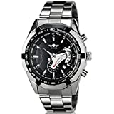 Winner TM340 Black Dial Automatic Mechanical Mens Wrist Watch with Calendar Function & Stainless Steel Band
