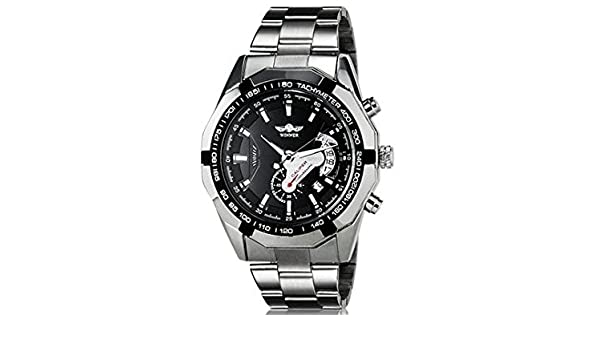 Amazon.com: Winner TM340 Black Dial Automatic Mechanical Mens Wrist Watch with Calendar Function & Stainless Steel Band: Watches