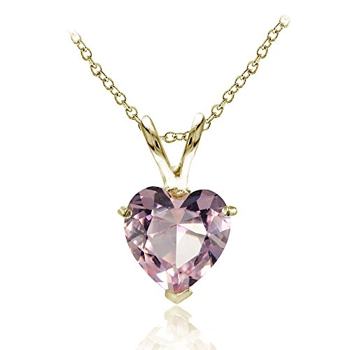 Yellow Gold Pink Tourmaline Pendant - Yellow Gold Flashed Sterling Silver Simulated Pink Tourmaline 7mm Heart Pendant Necklace