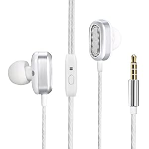 In-ear Headphones, Dual Dynamic Drivers Earphones with Mic High Resolution Heavy Bass and Noise Reduction Volume Control Headset for Apple iOS,Android,Computer,PC