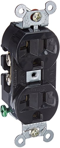 Hubbell 5362BLK Receptacle, Duplex Straight Blade, Hubbel-Pro, 20A, 125V, SM, Black by Hubbell