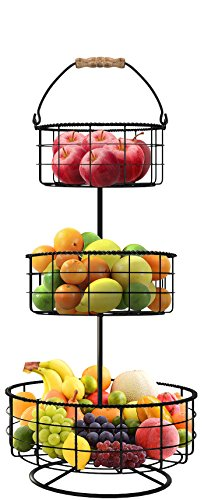 Sorbus Countertop Fruit Basket Holder & Decorative Tabletop Bowl Stand -Also Perfect for Vegetables, Snacks, Household Items, 3 Tier Black