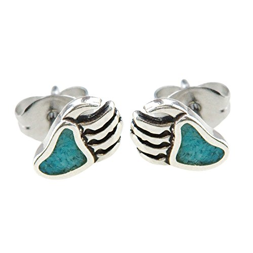925 Sterling Silver Bear Claw, Turquoise Inlay Earrings Charm Grizzley Black