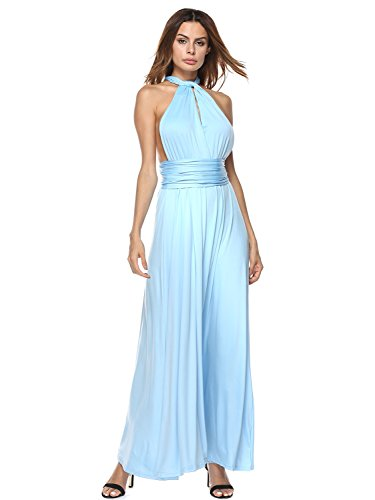 Choies Women's Briadmaid Long Dress Cornflower Blue Multi-Way Wrap Convertible Maxi Dress L