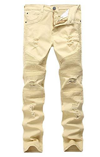 Versaces Hombres Jeans Cintura Media Pequeño Recto Lavado Bomba Alta Ocio Pantalones yellow