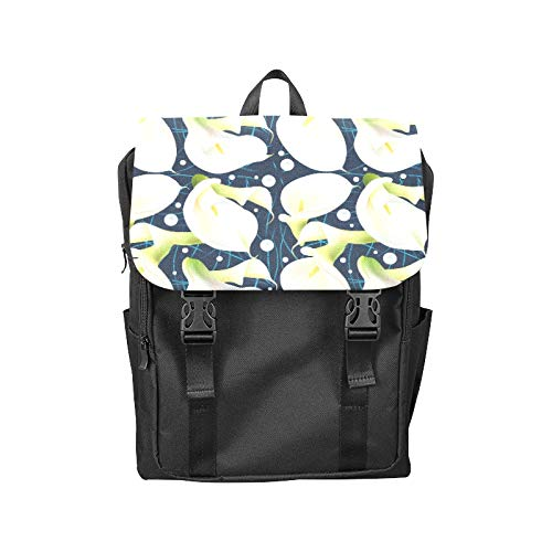 Fashion Flip Cover Notebook Calla White Floral Hand Drawn Romatic Print Laptop Backpack Travel Men Women Business Computer Backpack Oxford Fabric Vintage School Shoulder Bag (White Calla Blossom)