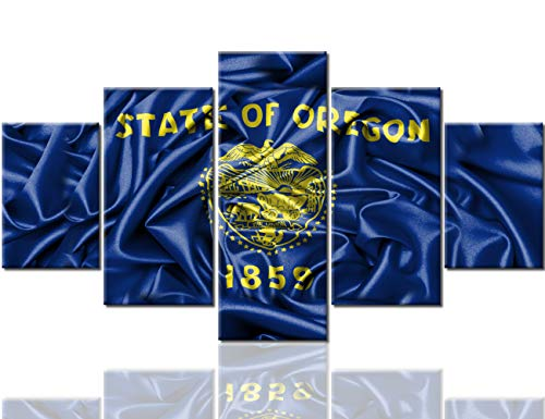 - Wall Pictures for Living Room American Oregon State Flag Paintings Navy Blue Artwork Multi Panel Prints Wall Art on Canvas Contemporary House Decor Giclee Framed Stretched Ready to Hang(60''Wx32''H)