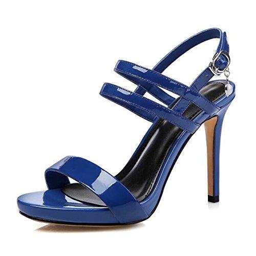 Work Tacchi Caviglia Alti Cinturino Alla Stiletto Ladies Fashion Blue Scarpe Summer Platform Simple Party Fibbia Toe 38 da Sandali Show Sera Peep wPq6vPBxz