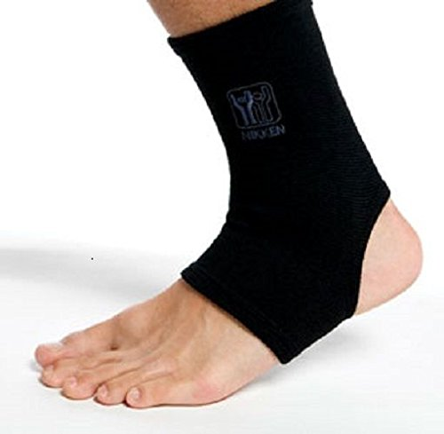Nikken KenkoTherm Ankle Support Wrap – Elastic Ankle Compression | Comfortable Support for Sprained Ankle and Swelling, Joint Pain, Injury Recovery | Unisex Ankle Accessories, Large