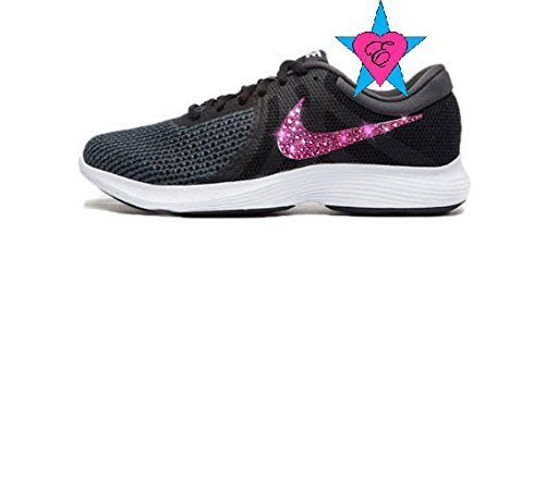 Women's Pink Swoosh Crystal Black Nike Revolution 4 Running Shoes by Eshays