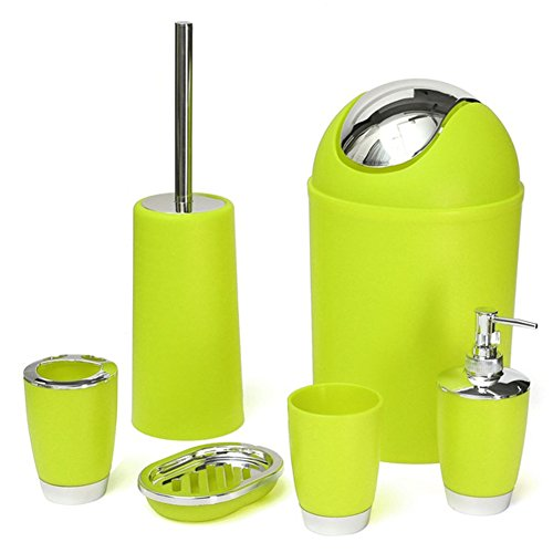 DYEY 6pcs Bathroom Accessory Set - Toothbrush Holder,Soap Dish,Toilet Brush,Waste Bin,Rinse Cup,Sprayer Bottle Dispenser for Home Travel Hotel Bathroom Necessities (Green)