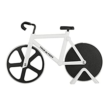 Bicycle Pizza Cutter - TOUR de PIZZA - Dual Stainless Steel Non-Stick Cutting Wheels - Display Stand - A very Cool Gift for the Kitchen