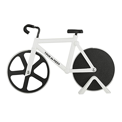 Bicycle Pizza Cutter - TOUR de PIZZA - Dual Stainless Steel Non-Stick Cutting Wheels - Display Stand - A very Cool Gift for the Kitchen by SoHo Kitchen (Pizza Cutter Bicycle)