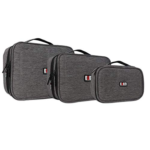 BUBM 3pcs Electronic Travel Organizer, Gear Carry Bag for Cables, Cord, USB Flash Drive, Battery and More, Compact and Multi-Purpose,Denim Gray