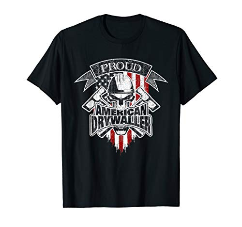 Drywaller T-Shirt American Flag Skull and Drywall Hammers
