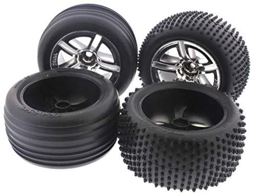 - TRAXXAS NITRO RUSTLER OR JATO TIRES, THESE TIRES AND WHEELS GIVE YOUR RUSTLER THE BEST PERFORMANCE BY TRAXXAS AVAILABLE, 5572R, 5574R
