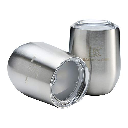 Stainless Steel Tumbler Set of 2 by League of Chic - Insulated Wine Glasses with Lids - 12oz Double Walled Sippy Cups - Stemless and Unbreakable - for Beach, Pool, Travel, Camping, and Picnic ()