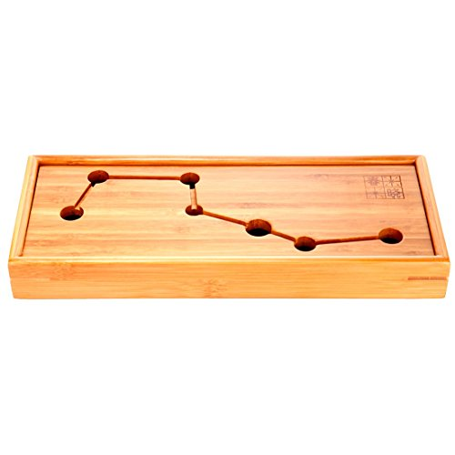 Tea Talent Reservoir Type Portable Travel Teatray - Japanese / Chinese Kungfu Tea Set Bamboo Box Gongfu Tea Table Serving Tray 11.8 x 4.7 x 1.37 Inch, Original Color Black Bamboo Handled Serving Plate