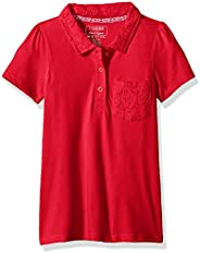 CHEROKEE Girls Uniform Short Sleeve Polo with Lace Pocket & Co