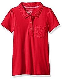 Cherokee Girls Uniform Short Sleeve Polo with Lace Pocket & Collar
