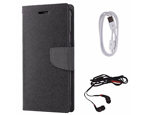 Avzax Diary Look Flip Wallet Case Cover for Samsung Galaxy E7  Black  + Data Cable + in Ear Headphone