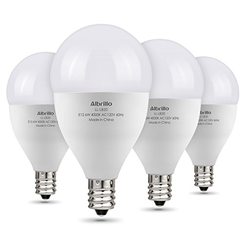 Albrillo E12 LED Bulb, LED Candelabra Bulb 60W Equivalent, Natural White 4000K Candle Base LED Chandelier Light Bulbs, Non-Dimmable LED Lamp, 4 Pack