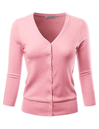 Cardigan V-neck Sleeve 3/4 - EIMIN Women's 3/4 Sleeve V-Neck Button Down Stretch Knit Cardigan Sweater LIGHTPINK M