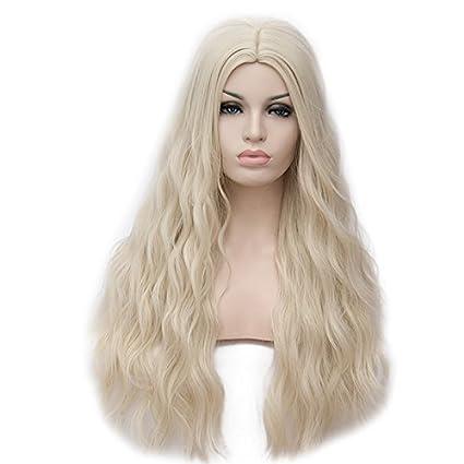 Amback largo rizado trenzado estilo Cosplay peluca rubia para Daenerys Targaryen Khaleesi