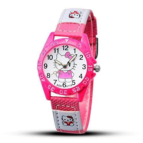 - AAIND 2018 Hello Kitty Cartoon Watches Kid Girls Leather Straps Wristwatch Children Hellokitty Quartz Watch Cute Clock Montre Enfant,8 Years (Rose Colour)