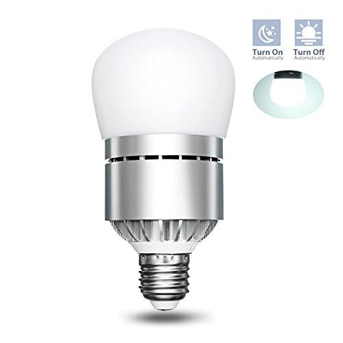 LED Dusk to Dawn Sensor Light Bulb, Elfeland Smart Lighting Lamp 12W 1200LM E26/E27 Socket Auto on/off, Indoor / Outdoor Security Light for Porch, Hallway, Patio, Garage