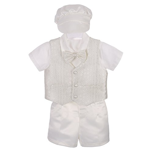 Dressy Daisy Baby Boys' 4Pcs Baptism Christening Outfit & Bonnet Wedding Suit Size 9-12 Months Ivory -
