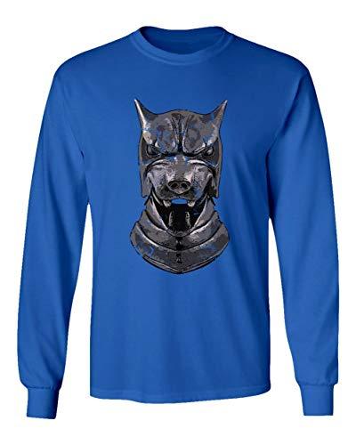 TMB Apparel New Novelty Shirt of Thrones Shirt Distressed Hounds Helm Men's Long Sleeve T-Shirt (Royal, Large) -