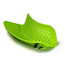 Ecolution Kitchen Extras Silicone Clip-On Snap and Strain Strainer, Green