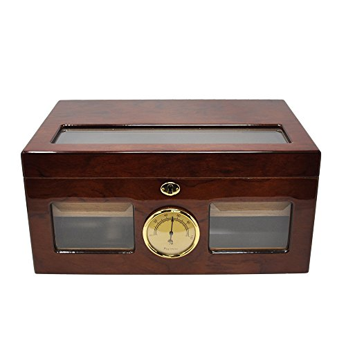 LOLIFUN Wood Cigar Humidor holds up to 100 cigars Size:376X246X178mm(14.46X9.46X6.85inch) with HYGROMETER, HUMIDIFIER AP-0044 (RED) by LOLIFUN