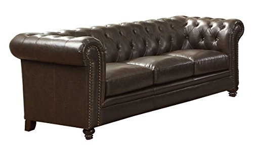 Coaster Home Furnishings  Roy Modern Traditional Rolled Arm Tufted Stationary Three Seater Sofa - Brown Bonded Leather Bonded Leather Sofas