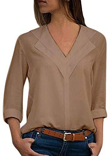 Shirt Kaki Mousseline de Longues T Manches EFOFEI Femme en Soie zxnTWvq1R