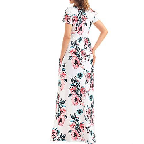 Abito Di Etnico Lungo Red Bohemian color Stile Floreale Igspfbjn Da Mini Con Tasche Stampa S Pink Size Donna CqwtW5