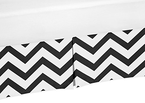 Black and White Zig Zag Crib Bed Skirt Dust Ruffle for Boys or Girls Gender Neutral Chevron Collection Baby Bedding Sets