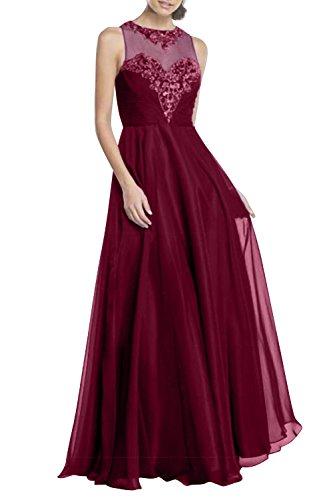Abendkleider Lang Chiffon Brautmutterkleider Perlen Festlich A Rock Charmant Pailletten Burgundy Linie Partykleider Damen 0q4ZxwnI