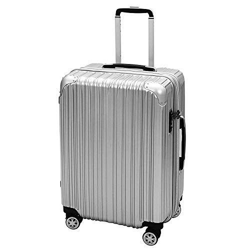 iCASE PC ABS Hard Sided 61cms/ 24 Inch Luggage Expandable Suitcase Spinner with TSA Lock Hardsided Check in Trolley  Silver