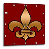 3dRose LLC Black and Gold Fleur De Lis on Maroon Background Christian Symbol Wall Clock, 10 by 10-Inch, Large