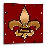3dRose dpp_30760_3 Large Black & Gold Fleur De Lis on Maroon Background Christian Symbol Wall Clock, 15 by 15''