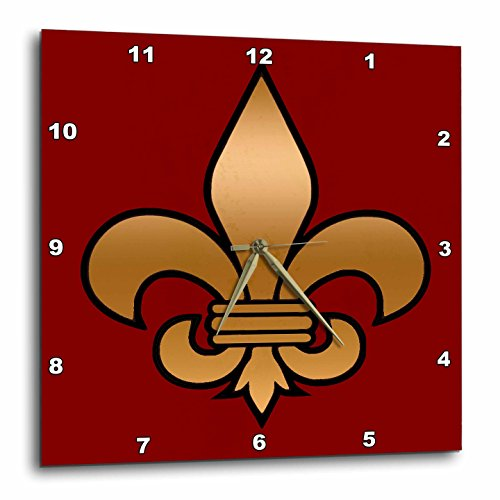 3dRose dpp_30760_3 Large Black & Gold Fleur De Lis on Maroon Background Christian Symbol Wall Clock, 15 by 15'' by 3dRose
