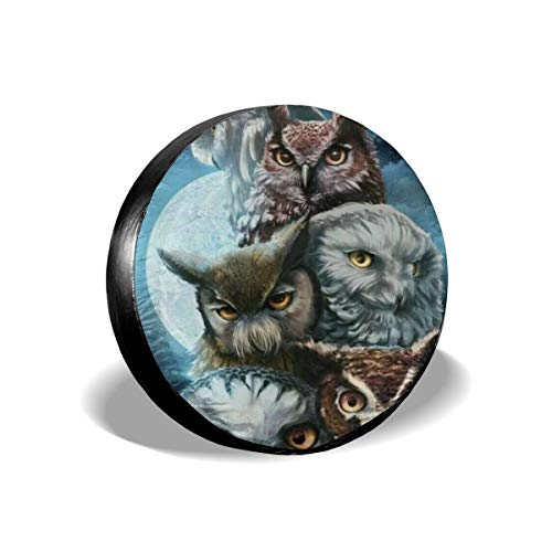 Beach Surfers Spare Tire Cover Night Moon Great Horned Owl Waterproof Dust-Proof Back Off Rv Wheel Covers for Liberty Wrangler SUV Camper Travel Trailer Accessories 14 Inch