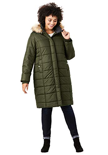 Roamans Women's Plus Size Mid-Length Quilted Parka with Hood - Dark Olive Green, 5X (Size 5x Womans Parka)